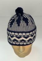 Темно-синяя шапка с белым орнаментом и помпоном