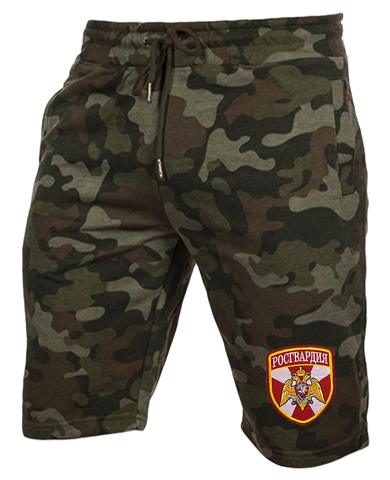 Темные армейские шорты с нашивкой Росгвардия