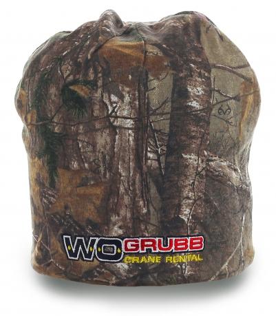 Теплая мужская шапка Wo Grubb. Универсальный цвет-камуфляж, удобная форма. Надежная защита от непогоды