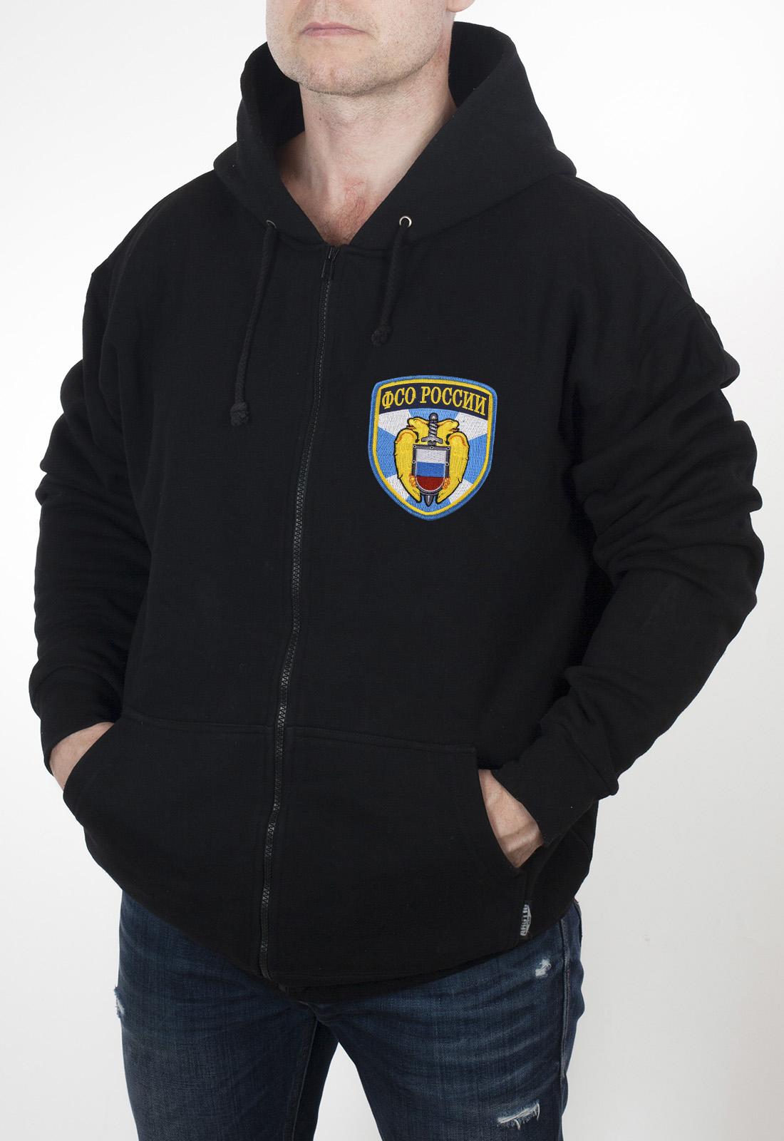 Недорогая мужская толстовка с карманами и шевроном ФСО России