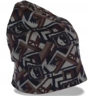 Трендовая женская шапка бини с геометрическим рисунком суперклассная стильная модель
