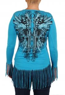 Хулиганская туника с бахромой по низу и на рукавах. Креативная серия модной одежды от дизайнеров Rock and Roll Cowgirl