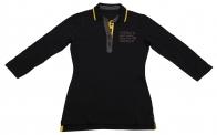 Удобная модель женской рубашки поло с тематической вышитой надписью