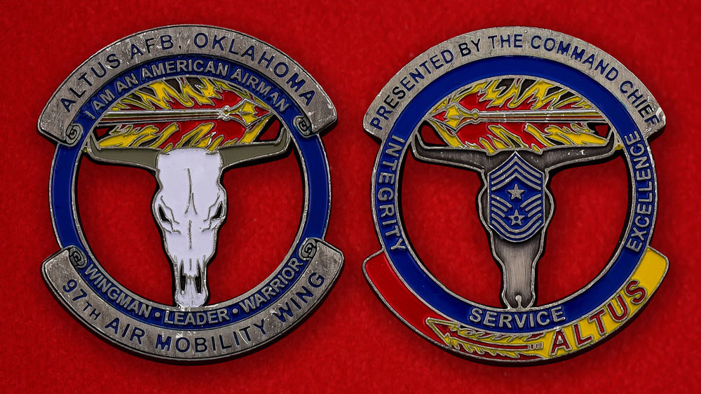 USAF 97th Air Mobility Wing Altus AFB, Oklahoma Challenge Coin - both sides