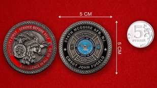 USAF Fire Protection 514th McGuire AFB Challenge Coin - linear size