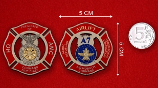 USAF Fire Protection Air Mobility Command Challenge Coin - linear size