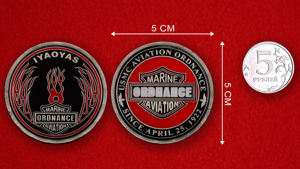 USMC Marine Aviation Ordnance Challenge Coin - linear size