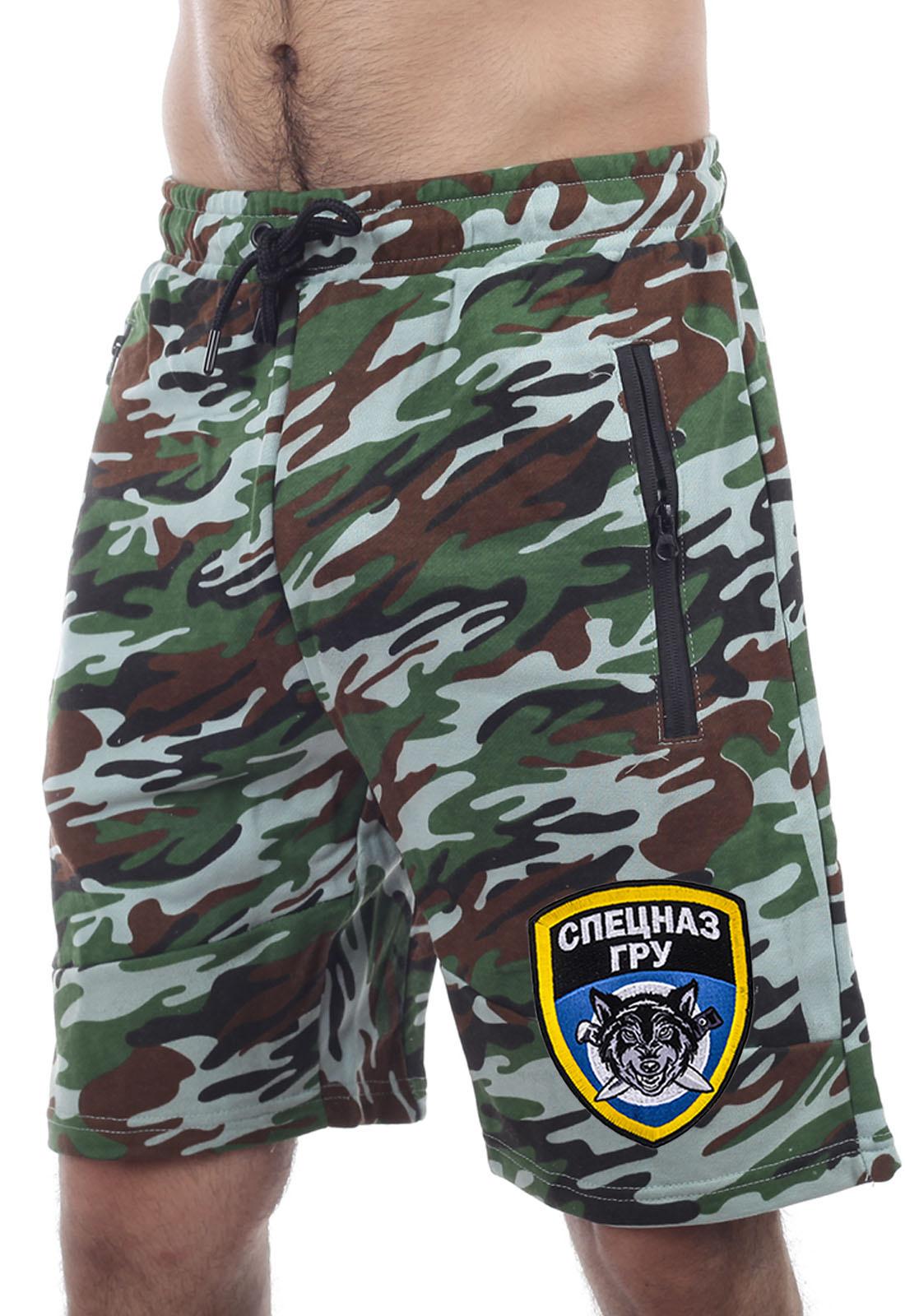 Выбрать и купить мужские милитари шорты с вышивкой Спецназа ГРУ