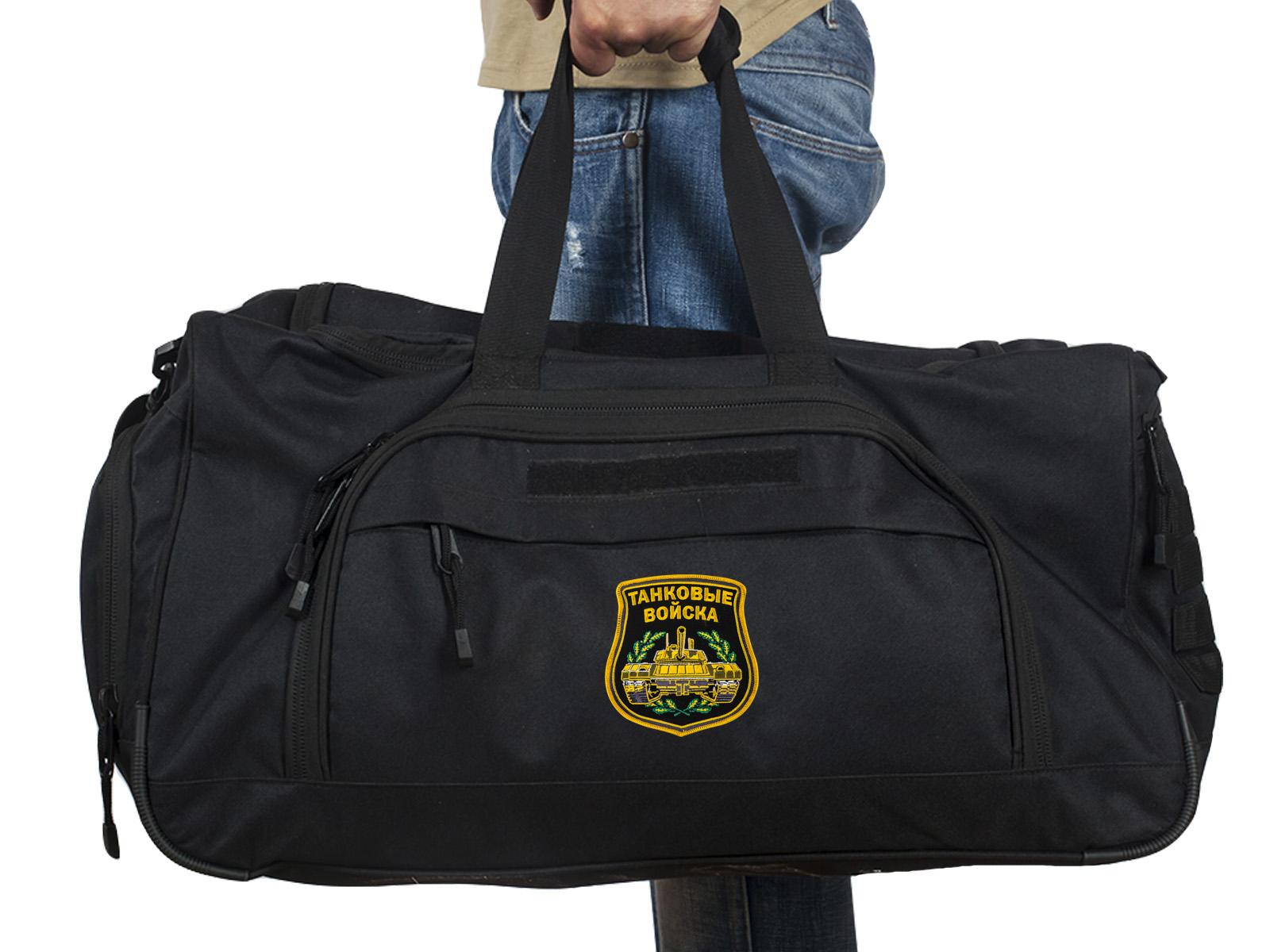 Купить военную большую сумку с нашивкой Танковые Войска 08032B Black оптом выгодно