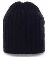 Вязаная мужская шапка черного цвета. Современная модель, теплая и практичная