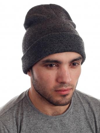 Вязаная мужская шапка с отворотом