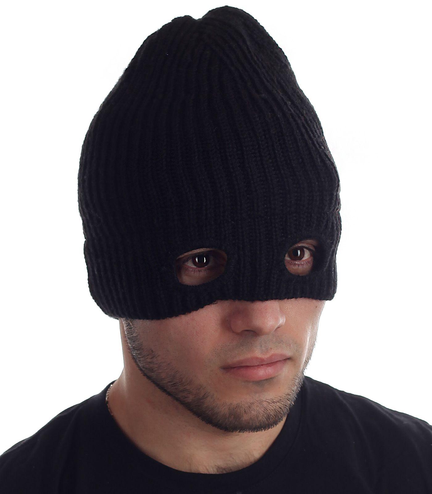 Купить вязаную шапку-маску на флисе