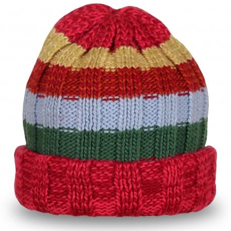Яркая полосатая шапка, очень теплая и удобная