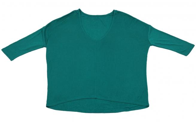 Зеленая кофточка Karisma модного дизайна: удлиненная спинка, узкий укороченный рукав