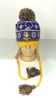 Желто-фиолетовая шапка с помпоном и косами