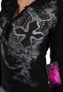 Женская городская кофта с капюшоном. Эффектный готический дизайн от ТМ Rock and Roll Cowgirl. Будь собой и оставайся женственной