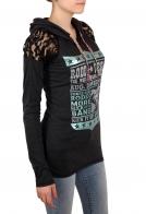 Женская кофта-туника с капюшоном и соблазнительно-прозрачными вставками на плечах. Топовая модель от бренда Panhandle