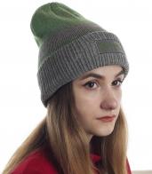 Женская шапка Quest. Модная серо-зеленая полоска, удлиненный фасон с подворотом. Безупречное сочетание моды и комфорта
