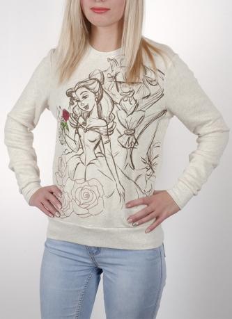 Эффектный женский свитшот Disney® Beauty and the Beast (США). Модель из ограниченной имиджевой коллекции с рисованными принтами. Хорошо и с джинсами, и  с юбкой