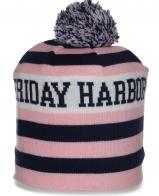 Зимняя полосатая женская шапка бини